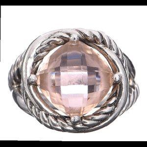 EUC DAVID YURMAN 11MM Morganite Infinity Ring 925